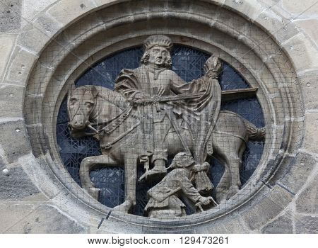 TUBINGEN, GERMANY - OCTOBER 21: Saint Martin, Collegiate Church of St. George in Tubingen, Germany on October 21, 2014.
