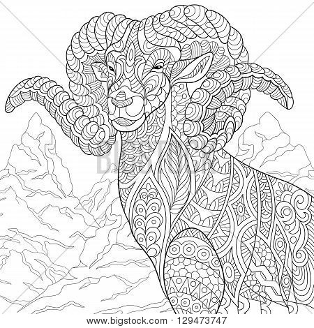 Zentangle stylized cartoon goat (ram ibex aries or capricorn zodiac). Hand drawn sketch for adult antistress coloring page T-shirt emblem logo or tattoo with doodle zentangle floral design elements.