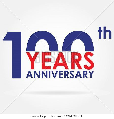 100 years anniversary sign or emblem. Template for celebration and congratulation design. Colorful vector 100th anniversary label.