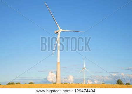View of the wind generators a summer evening. Estonia