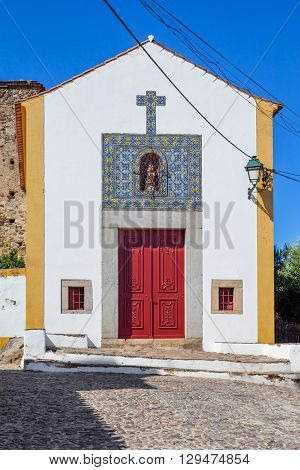 Facade of the Nossa Senhora da Alegria church in Castelo de Vide, Portalegre, Alto Alentejo, Portugal.