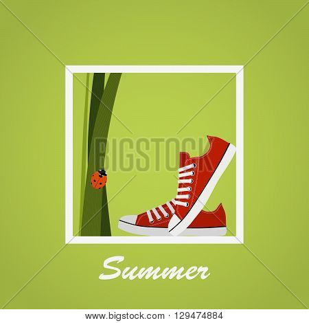 Red Sneakers shoes grass ladybug. Gumshoes. Summer. Lettering. Background.
