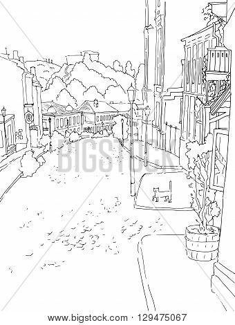 Vector black white sketch of city town the urban landscape of the old street. St. Andrew s in Kiev, Ukraine, buildings, yard