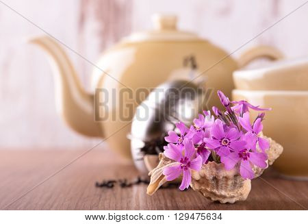 Few Pink Carnations In Seashell And Tea Set