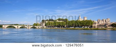 Panoramic view of Avignon Bridge with Popes Palace Pont Saint-Benezet Provence France