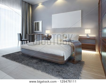 Large luxury bedroom in Contemporary style white brown and gray colors. A large bed with a side table and a dressing table with a mirror and a chair. 3D render.