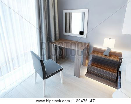 Modern dressing table with chair and mirror and a bedside nightstand with lamp. Bedroom with wooden furniture of brown color with a glossy finish. 3D render.