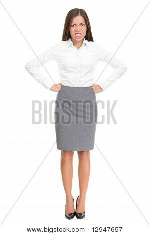 Angry Woman Standing Isolated
