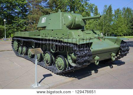 LENINGRAD REGION, RUSSIA - JUNE 08, 2015: Soviet heavy tank KV-1 the participant of the great Patriotic war, established in Leningrad region. Historical landmark