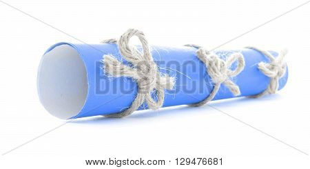 Blue message roll tied with rope three natural nodes isolated