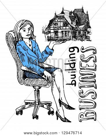 Woman sells house. Hand drawn vector sketch. Building business.