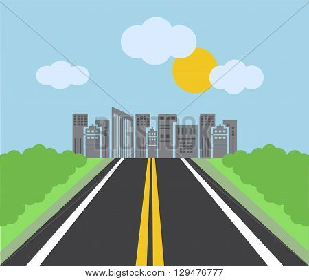 highway leading to the big city with skyscrapers