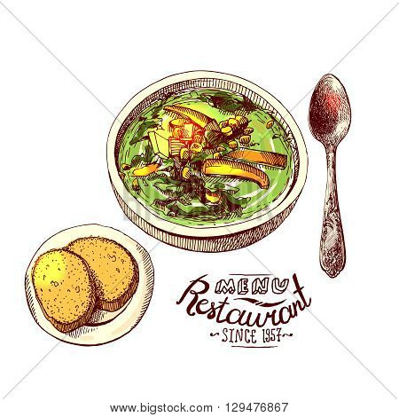 Soup and bread. Hand drawn vector sketch illustration for menu.