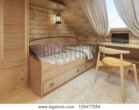 Bed and desk in the children's room in a log house in the attic in a nautical style. 3D render.