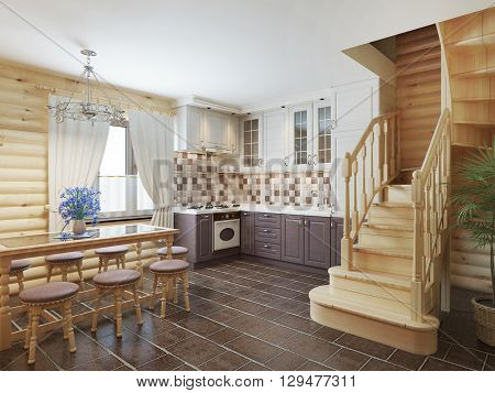 Kitchen and dining area in a log interior staircase to the second floor and a fireplace. 3D render.