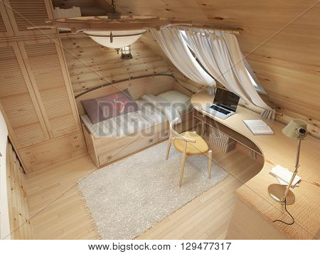 Children for a teenager in a log house in the attic. Children's furniture in marine style. Bed wardrobe and desk. 3D render.