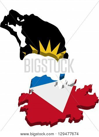 A map of Antigua and Barbuda 3D with flag on white background