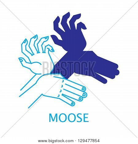Shadow Hand Puppet Moose. Vector Illustration of Shadow Hand Puppet Isolated on a White Background. Shadow Theatre or Shadow Play. Icon of Shadow Hand Puppet in Mix Style - Thin Line and Flat.