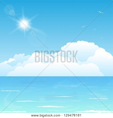Bright and big puffy clouds lying on the blue sea.