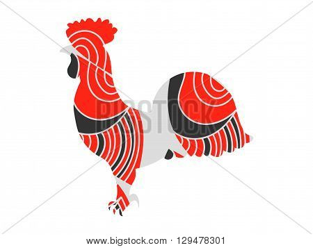 Rooster with a pattern. Rooster on a white background. Vector illustrations.