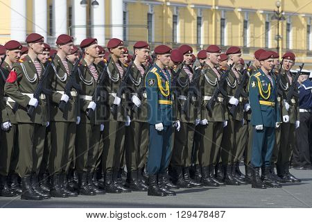 SAINT PETERSBURG, RUSSIA - MAY 05, 2015: The soldiers 33 brigade Interior Troops of Russia in the ranks before the rehearsal of parade in honor of Victory Day