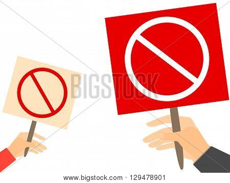 Hand Holding A Prohibition Sign. Vector Illustration.