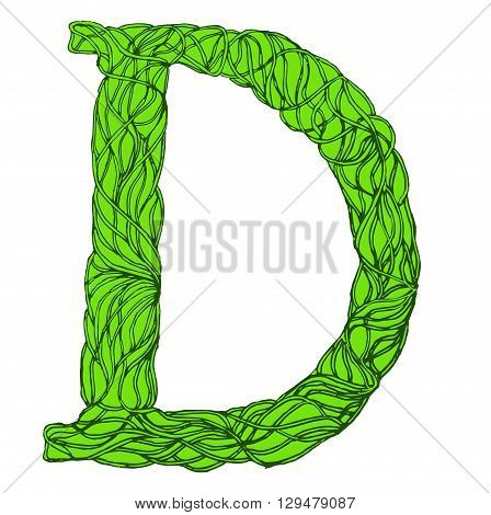 Herbarium font, type. Herbal vector letters. Letter D . Green herbal letter.