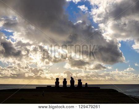Sunset seen in Ahu Tahai Easter Island