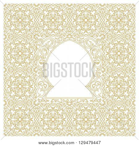 Eastern gold frame, mosque, arch. Template design elements in oriental style. Floral Frame for cards and postcards Eid al-Adha. Muslim invitations and decor for brochure, flyer, poster. Vector border