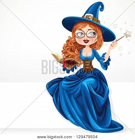 Beautiful Witch Wearing In Blue Dress Holding A Magic Wand And Book Sitting On A White Banner Isolat