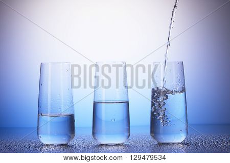 Drinking Glasses With Reflection In Drops Of Water