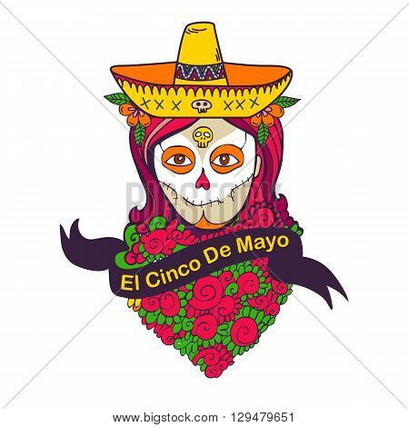 Holiday poster. Cinco De Mayo poster with skull girl in sombrero, maracas and guitar