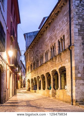 Sunset on the beautiful little streets of Besalu Spain