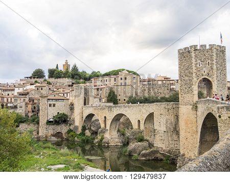 Beautiful bridge to access Besalu village Spain