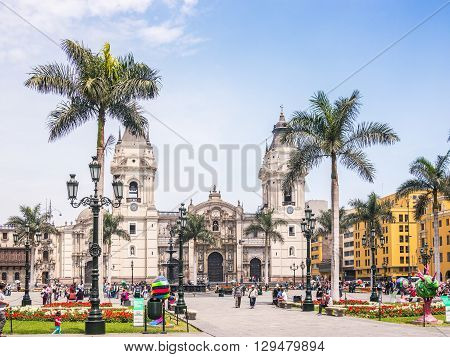Lima Peru - October 11 2014 - View of the Lima (Peru) cathedral in a sunny spring day.