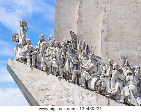 Belem Portugal - April 28 2014: Monument to the Discoveries of the New World in Belem Portugal