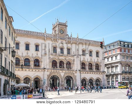 Lisbon Portugal - April 25 2014: The Rossio Station is a station in Lisboa Portugal and it's located in the Rossio square. It is the main station in Lisboa.