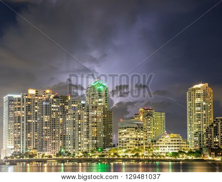 A storm over the Brickell Key Miami