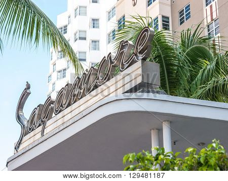 Miami Beach USA - October 1 2014: Side view of the Sagamore hotel an example of the art deco design in Miami Beach.