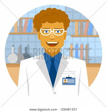 Round emblem smiling scientist in laboratory for making research.
