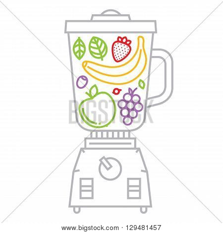 Graphic blender with fruits and berries vector illustration