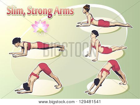 A set of yoga postures female figures: a sequence of exercise in the form of creative visual poster for Slim Strong Arms