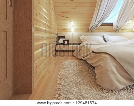 Bedside tables with lamps and a floor lamp in the modern bedroom. Bedroom interior in a log house. 3D render.