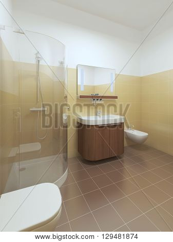 Interior bathroom in Contemporary style. Interior bathroom with brown and yellow tiles on the walls and white ceiling. Furniture made of brown wood. 3D render.