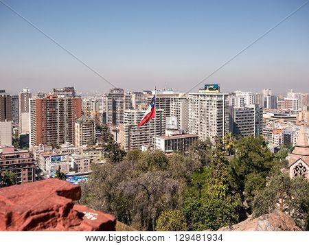 Santiago Chile - October 6 2014: Flag of Chile seen from the Santa Lucia hill