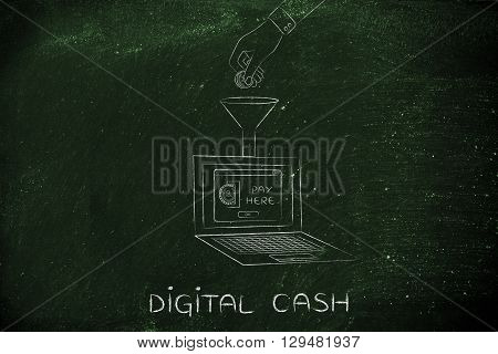 Hand Dropping Coin Into Laptop Through A Funnel, Digital Cash