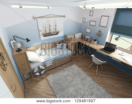 Modern children's room for a teenager in a nautical style with furniture decoration under the captain's cabin. 3D render.