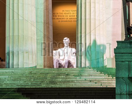 View of the Lincoln statue in the Lincoln Memorial