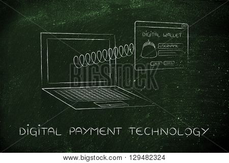 Digital Wallet Pop-up With Spring Out Of Laptop, Digital Payment Technology