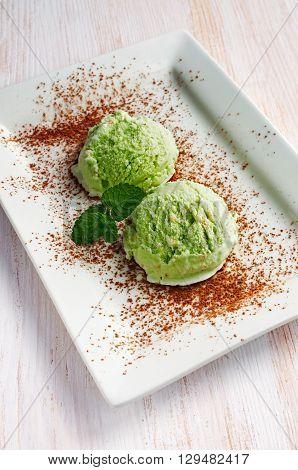 Green Pistachio Ice Cream Scoops